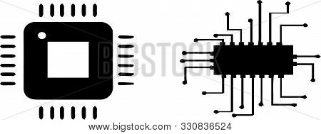 Circuit Board Icon On White Background  Concept, Texture, Transistor