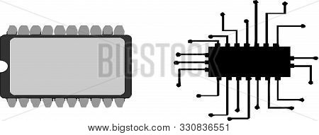 Circuit Board Icon On White Background  Texture, Transistor, Vector