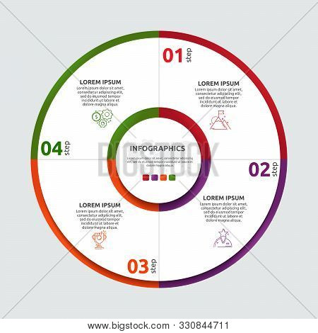 Vector Flat Template Circle And Sector Infographics. Business Concept With 4 Sectors. Four Steps For