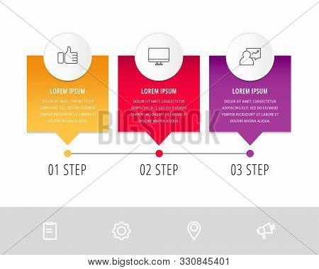 Vector Modern Infographic Flat Template Pin For Three Paper Label, Diagram, Graph, Presentation. Bus