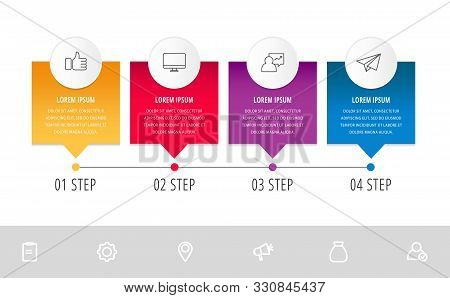 Vector Modern Infographic Flat Template Pin For Four Paper Label, Diagram, Graph, Presentation. Busi