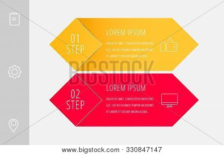Vector Infographic Flat Template. Rhombus With Label For Two Diagrams, Graph, Flowchart, Timeline, M