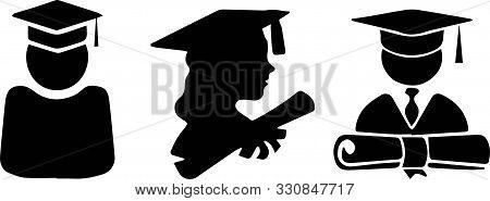 Bachelor Icon On White Background Teacher, University, Vector.