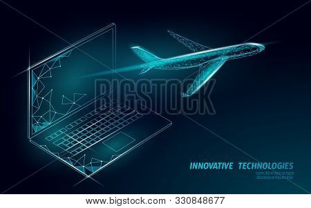 Airplane Flying From Laptop Screen. Flight Up Tourism Journey Symbol. Airline Flight Reservation Con