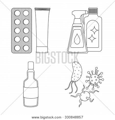 Vector Illustration Of Disease And Healthcare Icon. Set Of Disease And Pain Vector Icon For Stock.