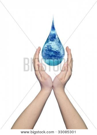 Concept or conceptual blue water or liquid drop falling in two woman hands isolated on white background,for human,splashing,palm,clear,purity,freshness,nature,clean,health,rain,environment or drinks poster