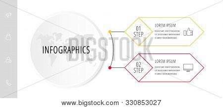 Vector Infographic Flat Template. Circle With 2 Rhombus And Label. Used For Two Diagrams, Graph, Flo