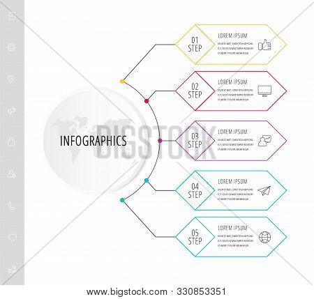 Vector Infographic Flat Template. Circle With 5 Rhombus And Label. Used For Five Diagrams, Graph, Fl
