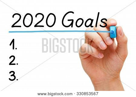 Blank Goals To Do List Concept For Year 2020 Isolated On White Background. Hand Underlining 2020 Goa