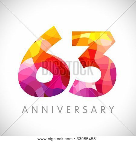 63 Rd Anniversary Numbers. 63 Years Old Yellow Coloured Logotype. Age Congrats, Congratulation Idea.