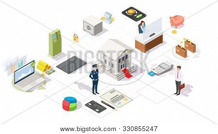 Banking And Financial Services Vector Flat Isometric Flowchart