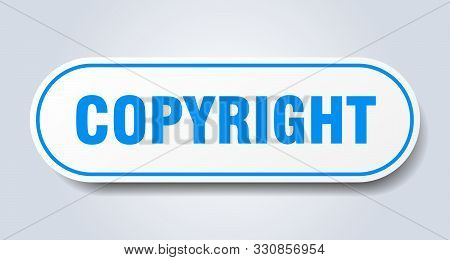 Copyright Sign. Copyright Rounded Blue Sticker On White Background