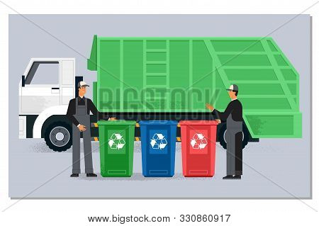 Two Garbagemen Working Together On Emptying Dustbins For Trash Removal.garbage Truck And Dustmen. Il