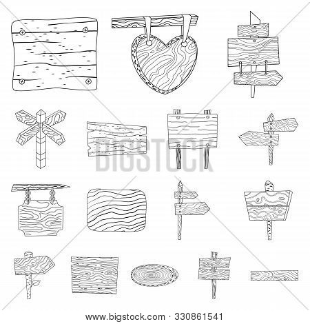 Isolated Object Of Hardwood And Material Sign. Set Of Hardwood And Wood Vector Icon For Stock.