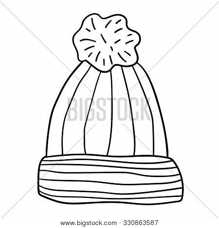 Wool Hat With Pompom. Hand Drawn Cartoon Doodle Linear Cap Isolated On White Background. Vector Illu