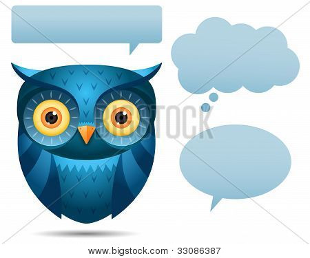 Blue Owl And Talk Bubble