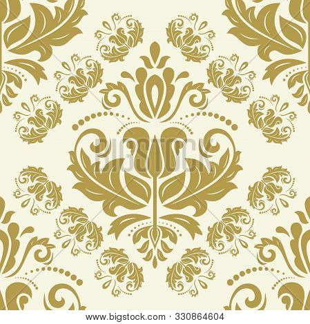 Classic Seamless Vector Golden Pattern. Damask Orient Ornament. Classic Vintage Background. Orient O