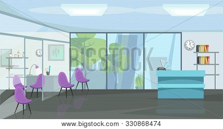 Traumatology Cabinet Flat Vector Illustration. Orthopedics, Empty Trauma Clinic Panorama. Physician