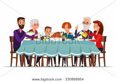 Big Family Dinner Flat Vector Illustration. Grandparents, Parents And Children Sitting At Served Fes