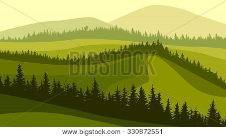 Horizontal Illustration Of Green Grassy Meadow Hills With Wavy Coniferous Forest Tops.
