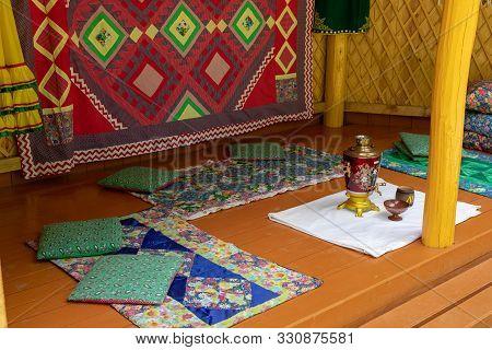 Installation Of Yurt Decoration. Territory Of The Shulgan-tash Nature Reserve On The Belaya River, R