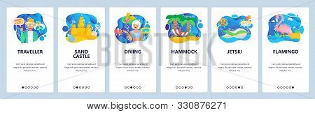 Mobile App Onboarding Screens. Travel And Holiday On Tropical Beach, Sand Castle, Diving, Hammock, J
