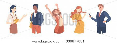 Set Of Confident People Illustrations . Girl Celebrating Victory, Busineswoman, Flirting Man And Smi
