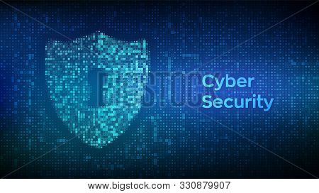 Security Shield. Cyber Security. Shield With Keyhole Icon Made With Binary Code. Protect And Securit