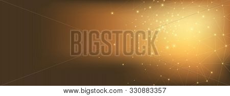 Gold Technology Elements. Data Stream. High Grid Network. Glow Polygonal Background. Light Technolog