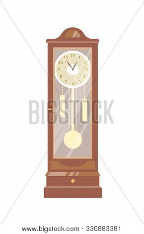 Pendulum Clock Vector Illustration. Vintage Timepiece Colorful Flat Design Element. Old-fashioned Ch