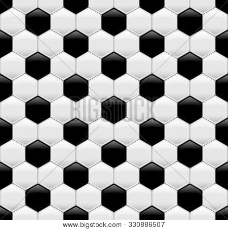 Soccer Or Football Ball Sport Seamless Texture. Black And White Realistic Pattern With Hexagon For F