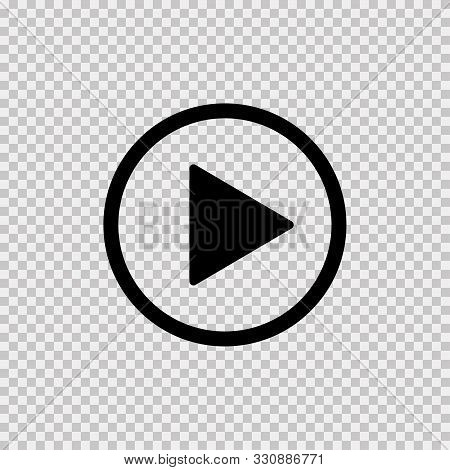 Play Icon On Transparent Background. Isolated Vector Sign Symbol. Web Media Symbol. Symbol Button Pl