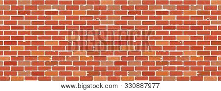 Seamless Grunge Brick Wall Texture. Realistic Red Brick Wall Background. Pattern For Interior Design