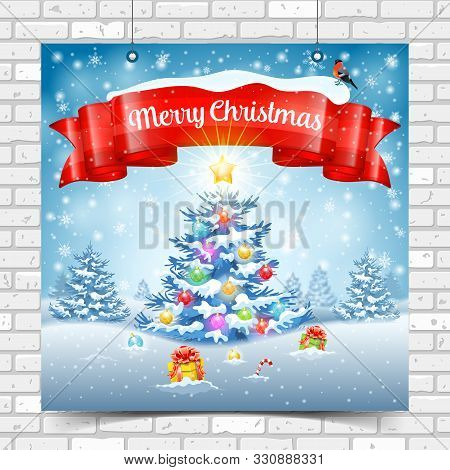 Christmas And New Year Background With Tree, Gifts, Ribbon, Snowflakes And Bullfinch. Merry Christma