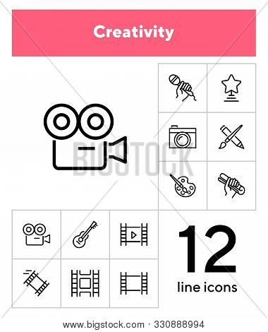 Creativity Line Icon Set. Camera, Guitar, Movie. Leisure Concept. Can Be Used For Topics Like Entert