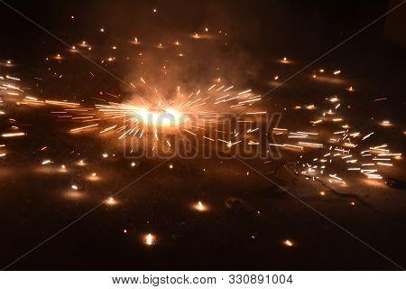 Indian Festival Of Lights, Happy Diwali Celebration With Illustration Of Exploding Firecracker On Fl