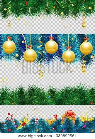 Christmas Frame With Baubles, Fir Branches, Mistletoe, Streamer, Gift And Christmas Border Decoratio