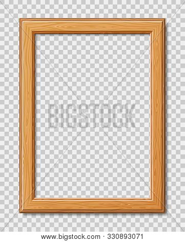 Mockup Modern Frame For Photo Or Pictures With Shadow. Realistic Wooden Frame. Vector Illustration I
