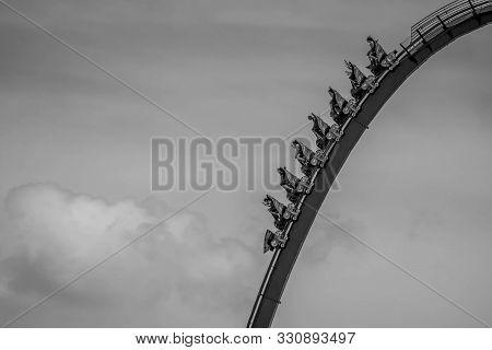 Orlando, Florida . July 31, 2019. People Enjoying Riding  Mako Rollercoaster During Summer Vacation
