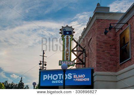 Orlando, Florida. October 27, 2019. Top View Of Illuminated Sesame Street Sign At Seaworld