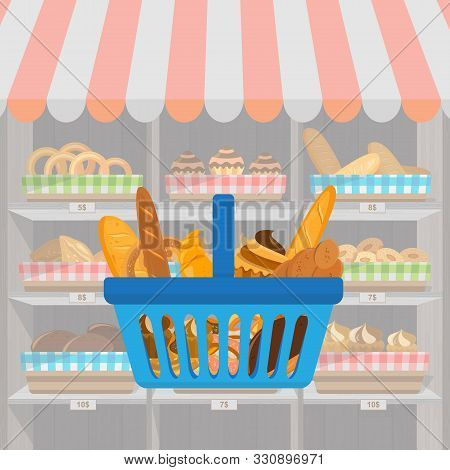 Banner With Bakery Products In Shopping Basket. Wheat, Rye And Whole Grain Bread. Pretzel And Bagel,