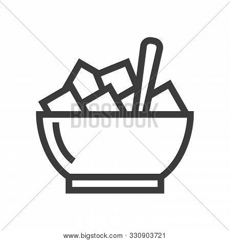 Sugar Bowl Vector Line Icon Design Isoalated. Linear Style Icon. Flat Design Element. Editable Strok
