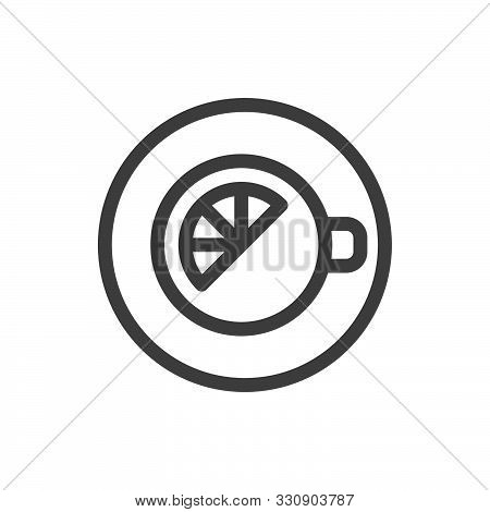 Lemon Tea Cup Icon. View From Above. Morning Charge Of Vivacity. Linear Style Icon. Flat Design Elem