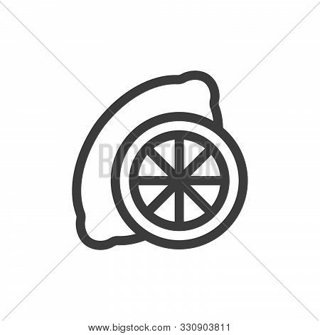 Symbol Of Lemon. Thin Line Icon Of Food. Stroke Pictogram Graphic For Web Design. Quality Outline Ve