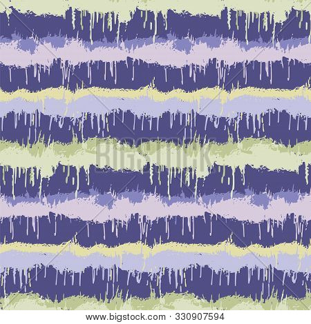 Dripping Ink Dyed Stripe Variegated Background. Seamless Pattern With Inky Dye Drop Spill. Bright Gr