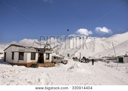 Indian And Traveler People Stop Car Rest At Check Point Base Camp On Khardung La Road In Himalaya Mo