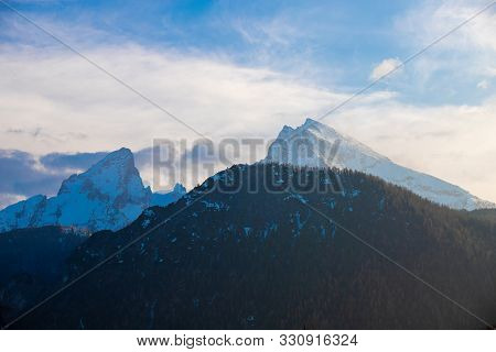 Scenery Of Some Snowcapped Mountaintops At Berchtesgaden, Germany