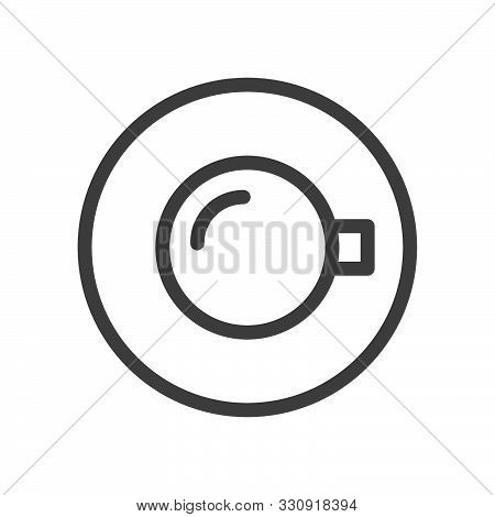 Cup Of Morning Coffee, Top View. Linear Style Icon. Flat Design Element. Editable Stroke. 48X48 Pixe