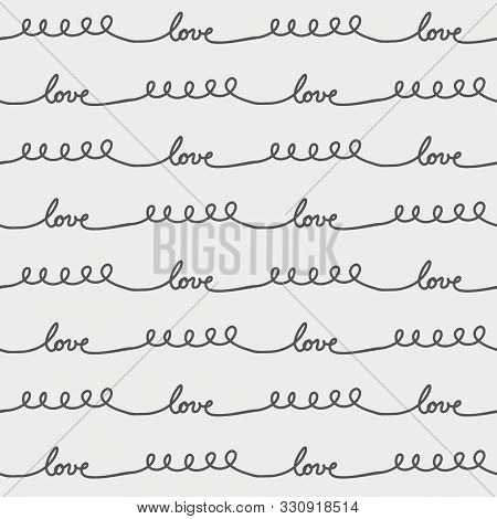 Gender-neutral Minimalist Baby Print. Hand Lettering Continuous Stripes Featuring The Text Love.