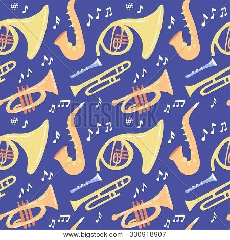 Seamless Pattern With Wind Musical Instruments - Trombone, Trumpet, Saxophone, French Horn On Dark B